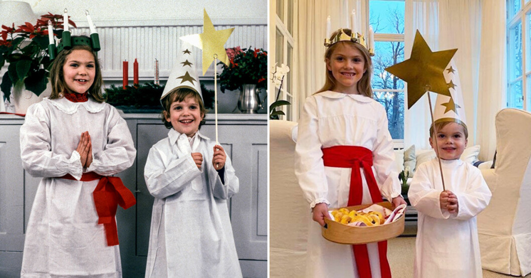 Estelle och Oscar som Lucia och stjärngosse.