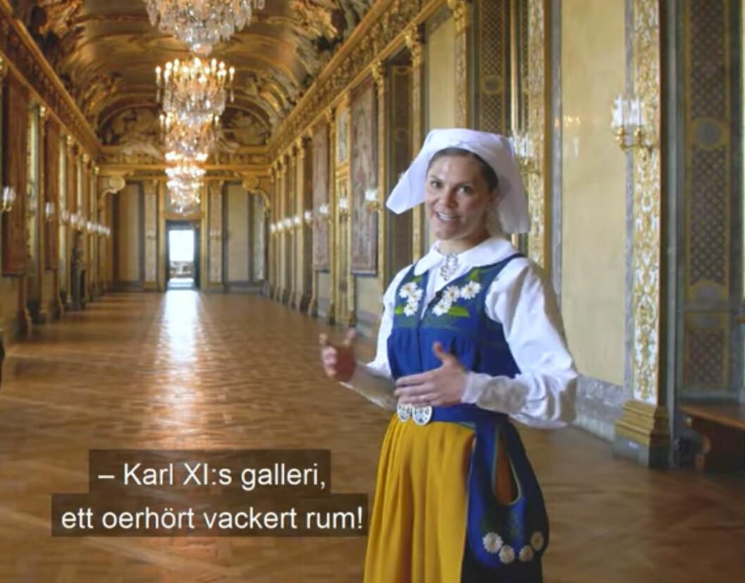 Kronprinsessan Victoria i Karl XI:s galleri på Stockholms slott.