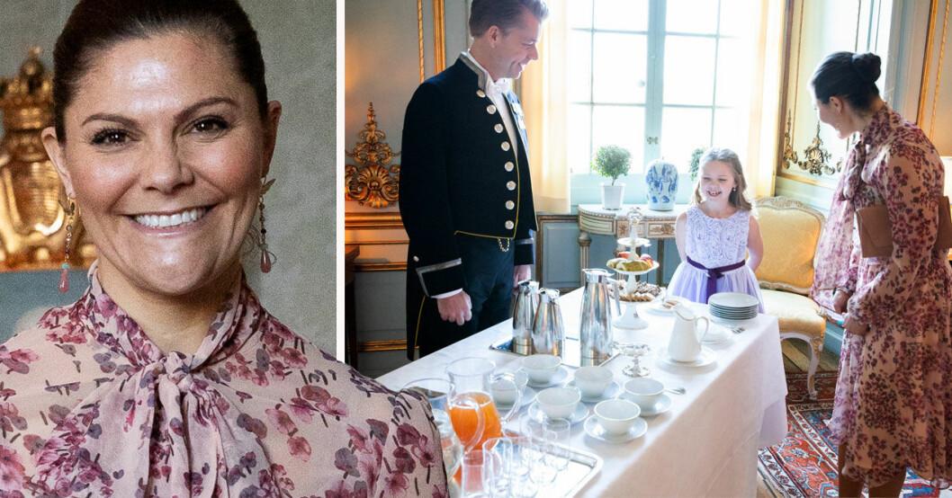 Kronprinsessan Victoria med cancerdrabbade Emilia på slottet genom Min Stora Dag
