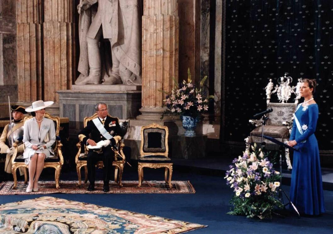 Kronprinsessan Victorias högtidliga myndighetstal i Rikssalen den 14 juli 1995.