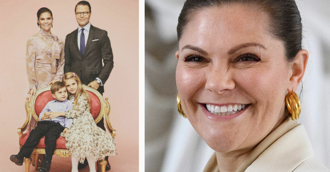 Kronprinsessan Victorias nya familjebild med prins Daniel, prinsessan Estelle och prins Oscar.
