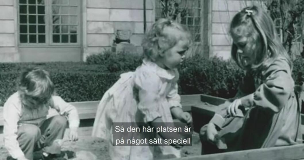 Victoria Madeleine och Carl Philip leker i sandlådan i Logården 1984.