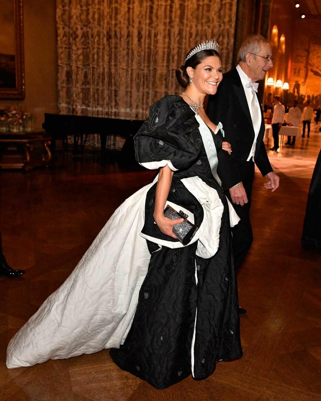 Kronprinsessan Victoria under Nobelbanketten 2019.