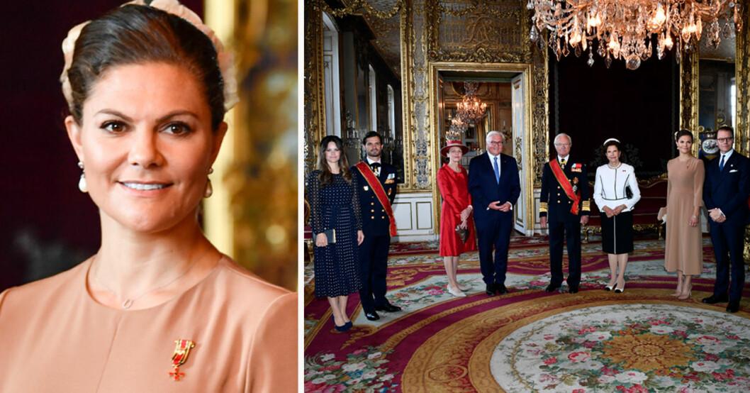 Kronprinsessan Victoria, Prinsessan Sofia, prins Carl Philip, Tysklands förbundspresident Frank-Walter Steinmeier, Elke Büdenbender, kung Carl Gustaf, drottning Silvia och prins Daniel