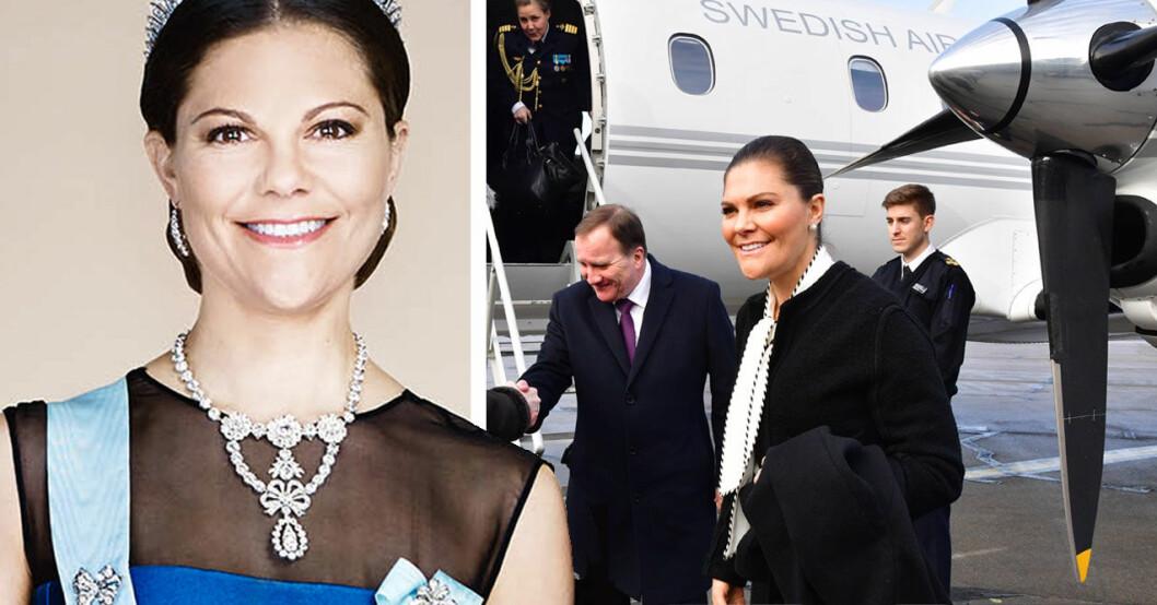 Kronprinsessan Victoria kliver av statsplanet med statsministern, Stefan Löfven.