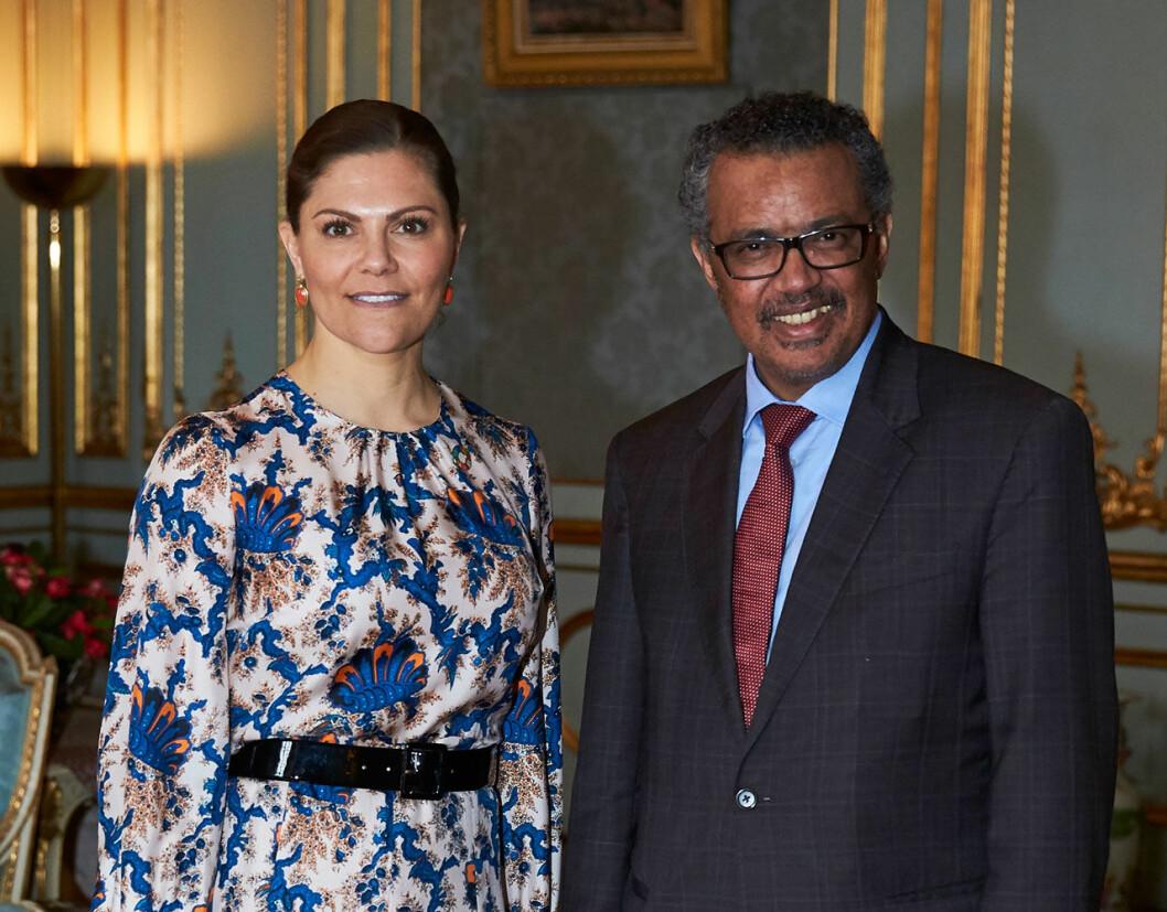 Kronprinsessan Victoria med WHO:s generaldirektör Tedros Adhanom Ghebreyesus.