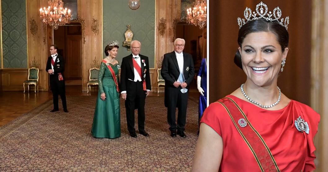 Kungafamiljen galamiddag på slottet för tysklands president