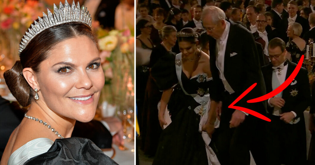 kronprinsessan victoria nära att snubbla på klänningen nobel 2019
