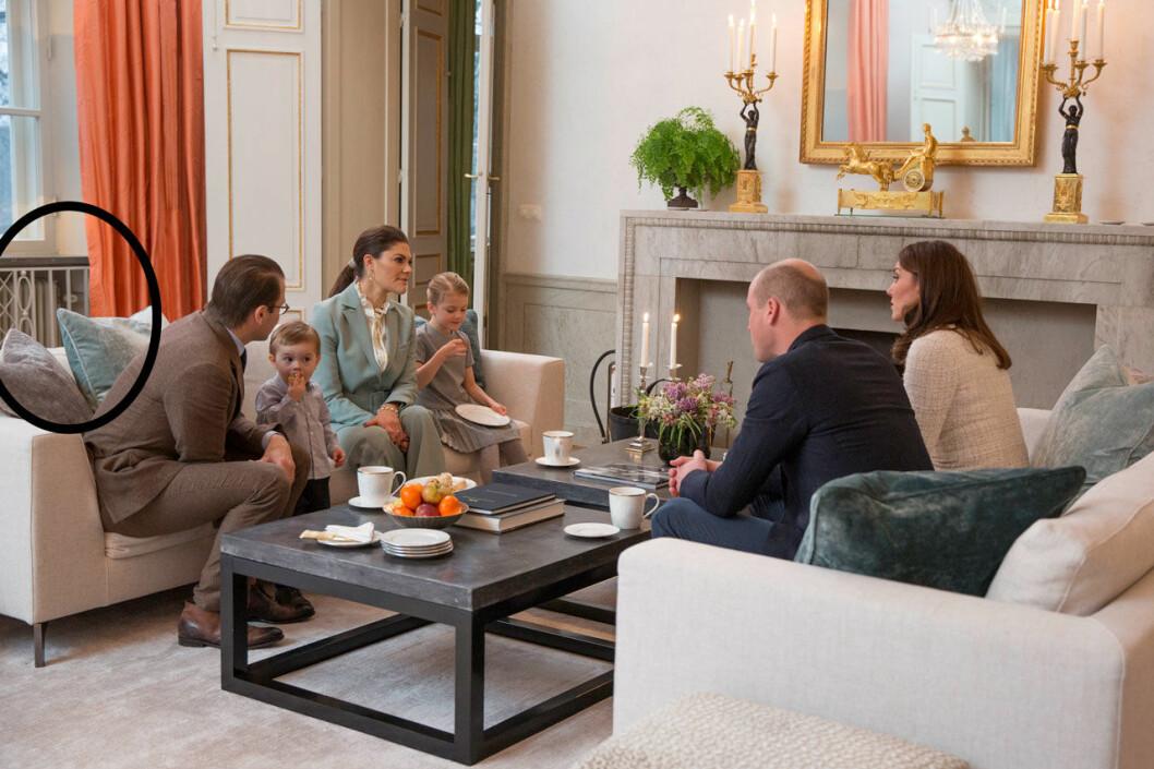 Vardagsrummet hemma hos Victoria och Daniel på Haga slott.